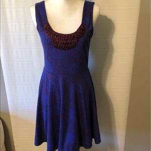 FREE PEOPLE Blue Purple Beaded Dress Sz Medium